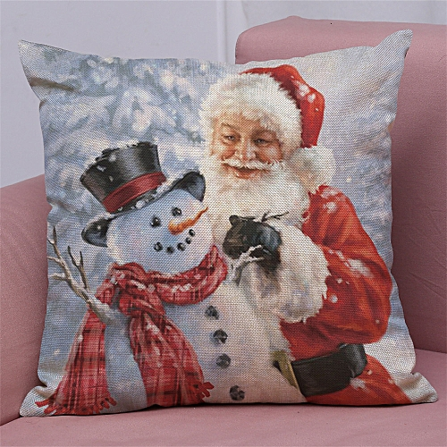 Hiamok_Dtrestocy New Christmas Cotton Linen Pillow Case Sofa Cushion Cover Home Decor