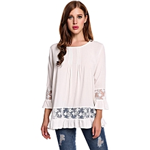 a1e2fc549154 New Women Casual O-Neck Long Sleeve Lace Patchwork Ruffle Brim Pullover Top  T-