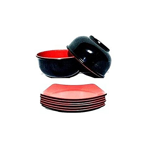 Unbreakable 6 Cereal Bowl + 6 Breakfast Plate Set - 12 Pieces