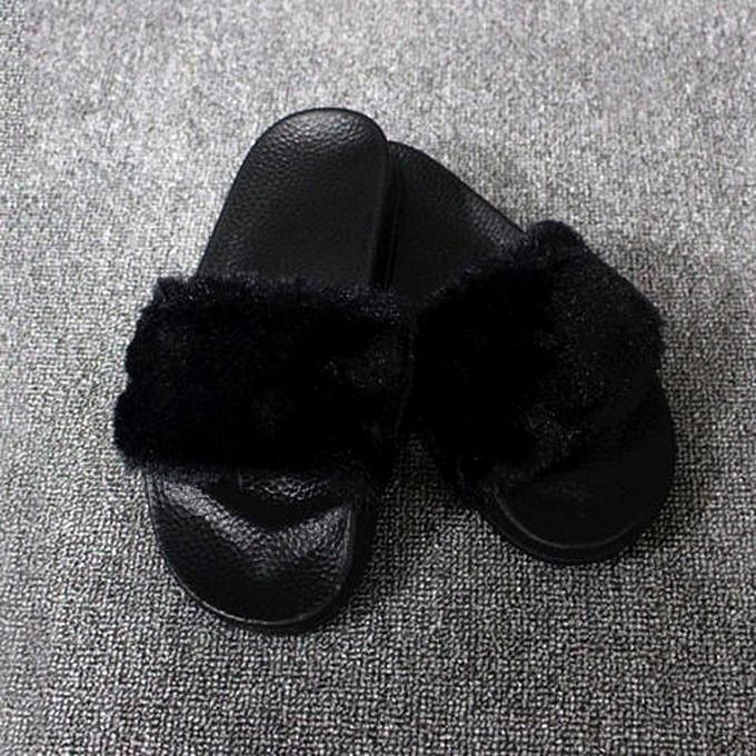 84e698179c9b ... Womens Ladies Slip On Sliders Fluffy Faux Fur Flat Slipper Flip Flop  Sandal