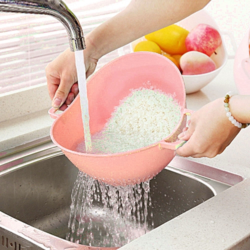 Double Handle Rice Basket Kitchen Basket Rice Wash Sieve Strainer