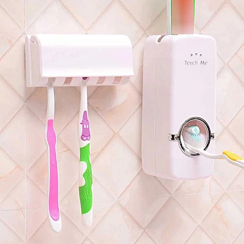 Automatic Toothpaste Dispenser Toothbrush Wall Rack Bathroom