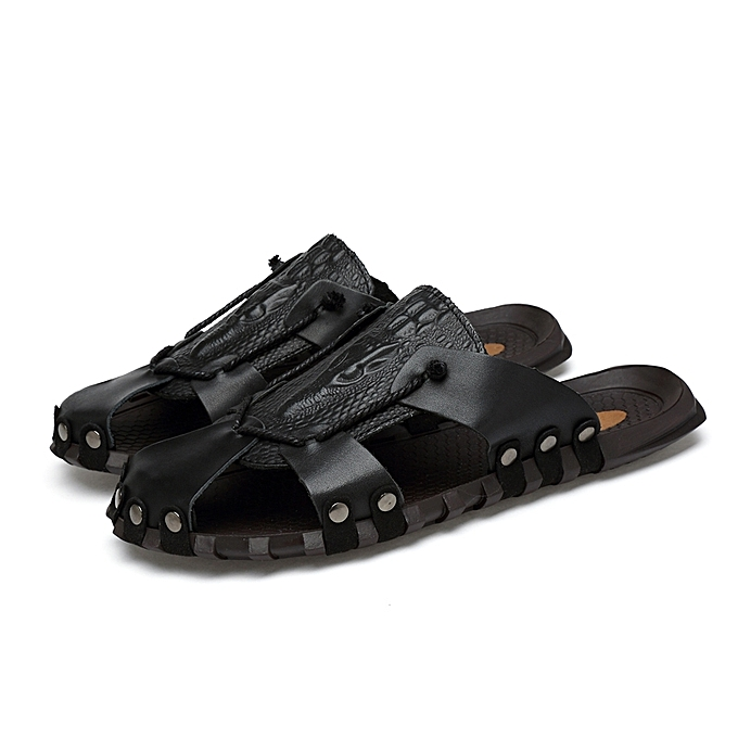8843925e5 Mens Leather Sandals Casual Slides Non-Slip Outdoor Sports Summer Beach Closed  Toe Shoes