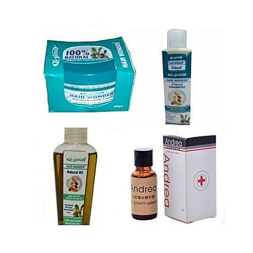 Hair Wonder Oil + Cream + Shampoo Plus Andrea Oil Combo - 4 In 1