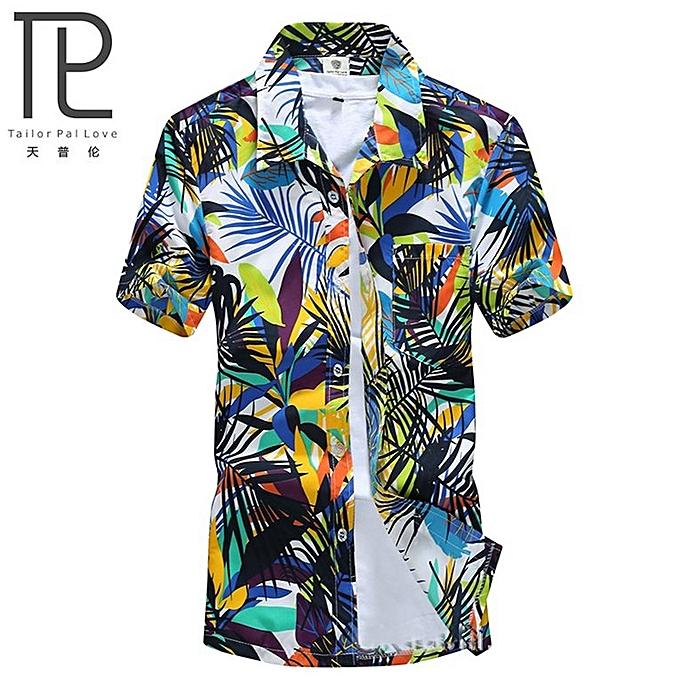 d1f0a64f38be Mens Hawaiian Shirt Quick Dry Printed Beach Shirts Short Sleeve Loose-green