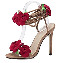 Star T-Taiwan Show Roses Cross Lacing Women Sandals High Heels Lady Casual  Lace- 75e9d3e5d06b