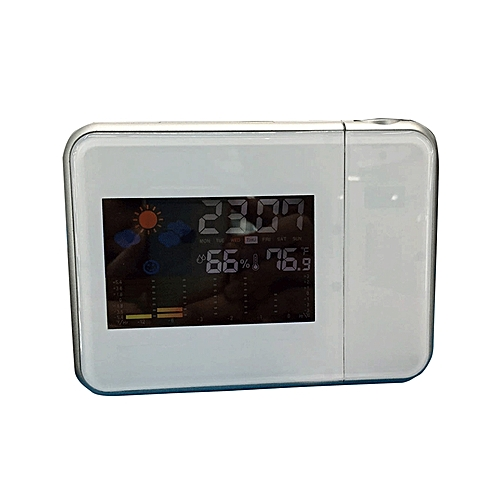 Digital Weather Forecast LCD Screen Projection Alarm Clock - White