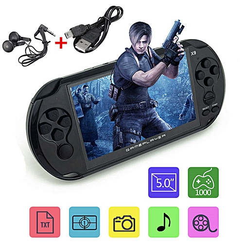 X9 5.0 Inch Large Screen 64Bit 8G Handheld Retro Game Console Video MP3 Player -Black