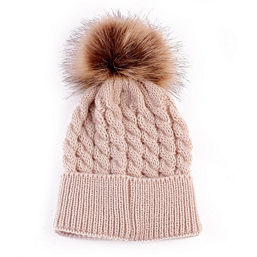 e89cade378d5db Fashion Newborn Winter Kids Baby Warm Hat Knitted Wool Girl Boy Hemming  Crochet Ski Cap - Khaki