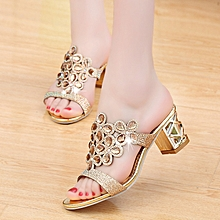 0721ae39a2a Women  039 s Shoes Rhinestones Summer Square Slippers Sandals-Gold