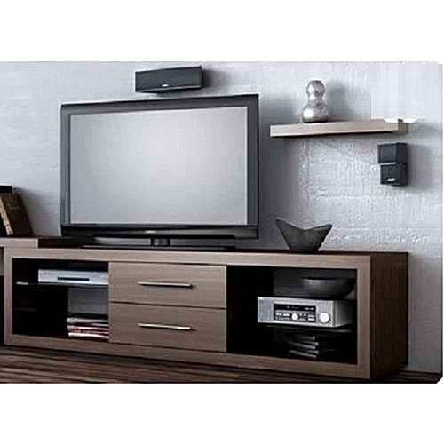 TV Stand With Center Drawers - Brown