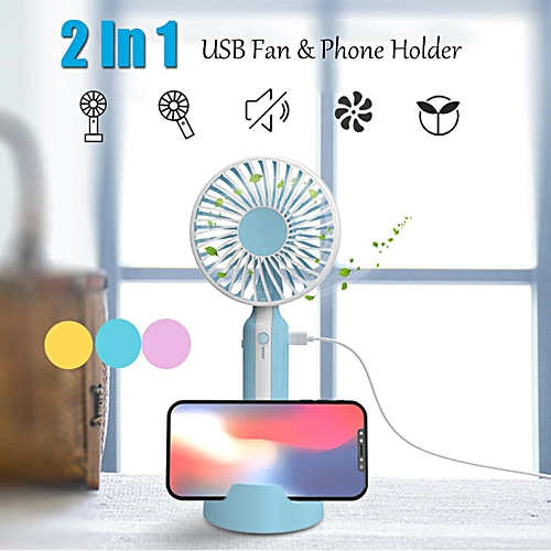 Mini Portable USB Rechargeable Hand Held Air Conditioner Cooler Fan Phone Holder Blue/Yellow/Pink
