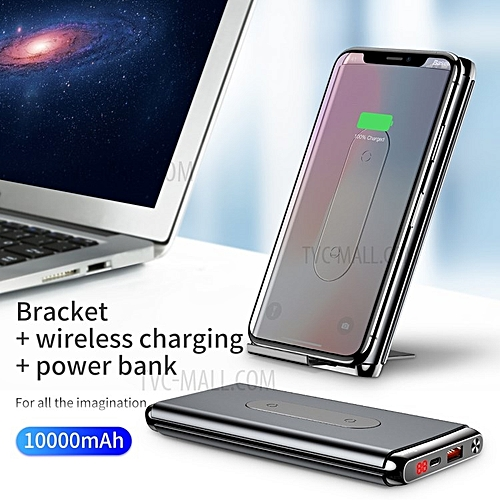 10000mAh Power Bank Fast Qi Wireless Charger For IPhone X / 8 / 8 Plus,  Samsung S9/S9+/S8/S8+ - Black