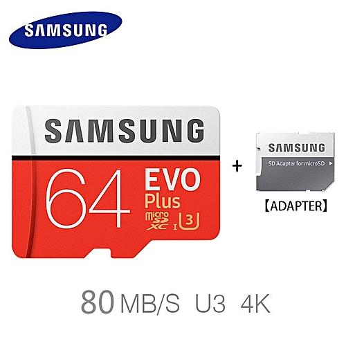 Samsung 64GB Memory Card Micro SD SDHC SDXC TF80M Grade EVO+ Class 10 Micro SD C10 UHS TF Trans Flash Microsd