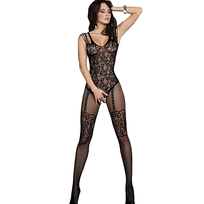 fabc179abe9 Sexy Women Lingerie Fishnet Jumpsuits Lace Mesh Bodycon Bodysuits Babydoll  Nightwear-black