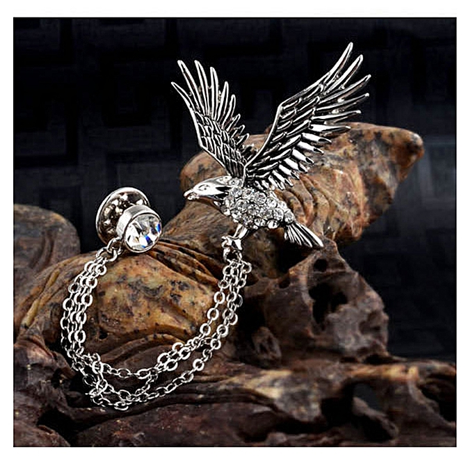 Men's Elegant Eagle Brooch Lapel Pin With Chains Brooch Pin For Suit Tuxedo
