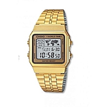 f96e92dc6d8 Men  039 s Gold-Tone World Time Stainless Steel Watch A500WGA-1DF