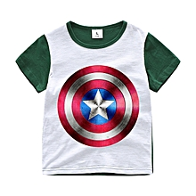 b1b9cdb9 Kids Unisex Cartoon Tops Captain America T-shirt Short Sleeve Cotton Tee