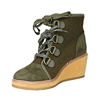 9182e488842 Women  039 s Hiker Lace Up Wedge Boots - Olive Green