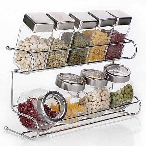 10 Pcs/set Seasoning Box Condiment Food Container Kitchen Storage Jar -Transparent