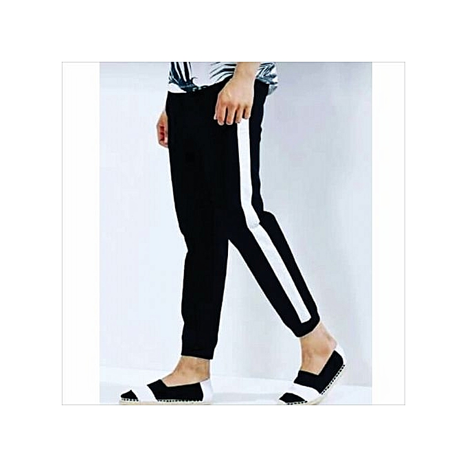 e95029f0 Fashion Mens Sweatpants Joggers With White Striped- Black | Jumia NG