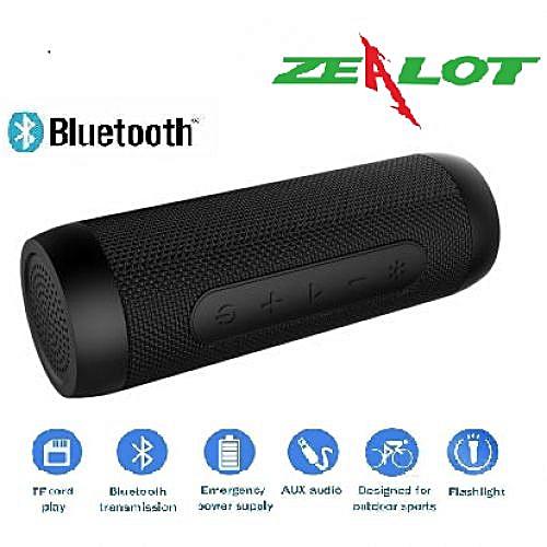 Zealot S22 Wireless Bluetooth Speaker Way Better Than Zealot S1 - 2019 Model- Plus Warranty ,Power Bank & Flash Light ,Tf Card With FM- Black