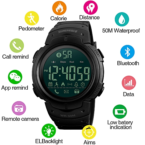 Sport Fashion Pedometer Remote Camera Calorie Bluetooth Smart Watch Reminder Digital Wristwatches