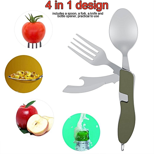 4 In 1 Stainless Steel Folding Portable Spoon Set For Camping Picnic