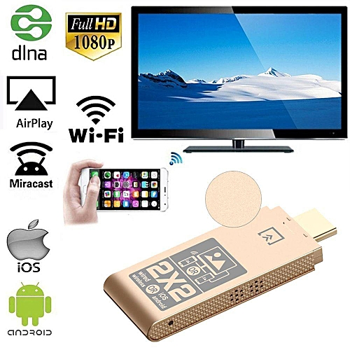 4 In 1 HDMI DLNA Airplay WiFi Display Miracast TV Dongle Stick HDMI Receiver For Smart Phone Tablet PC (Gold) WOHOT