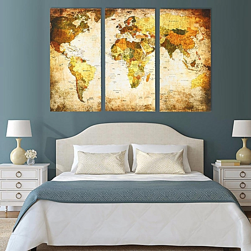 3 Panel World Map Modern Painting Wall Picture Unframed Canvas Home Decor [35*70*0.3cm]