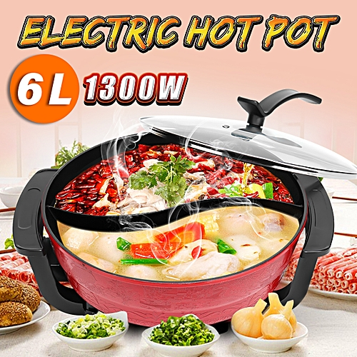 2 Grid 2 Taste 6L Mandarin Duck Pot Electric Hot Non-stic Home Cooking Tool Soup