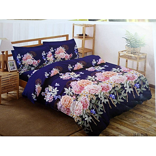 Floral Patterned Bedsheet With 2 Pillowcases - Multicolor