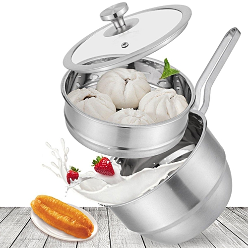 (photo)2 Tier Stainless Steel Steamer Induction Compatible Cookware 28cm Steam Po T# Stainless Steamer + Steam Rack
