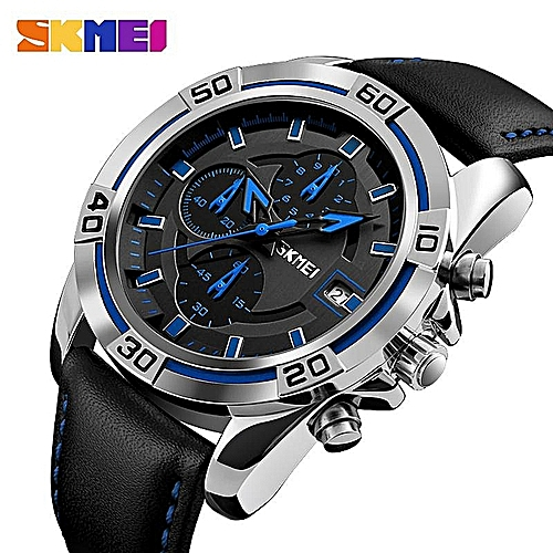 Skmei Watch Men Chronograph Auto Date Waterproof High Quality Analog Quartz Men's Soft Real Leather Strap Watches Casual Men's Wristwatches 9156 By HonTai
