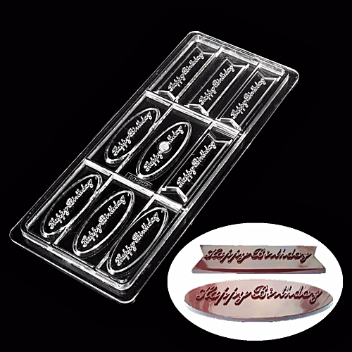 3D HAPPY BIRTHDAY PC Polycarbonate Chocolate Mold Hard Candy Tray Mould DIY Tool