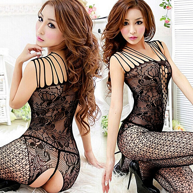 2f8d553652 SingedanSexy Woman Open Crotch Mesh Fishnet Bodystocking Stocking Lingerie  BK -Back