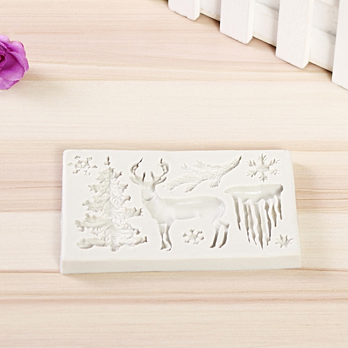 DIY 3D Christmas Deer Silicone Fondant Mould Cake Decor Sugarcraft Chocolate Mat