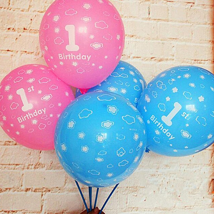 Allwin 20Pcs 1 Year Old Baby Number Printing Birthday Balloons For