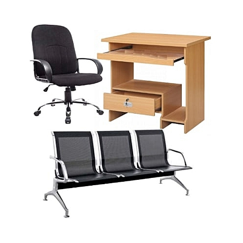 Computer Desk+fabric 360 Rotating Chair And 3 Seater Visitor Iron Chair
