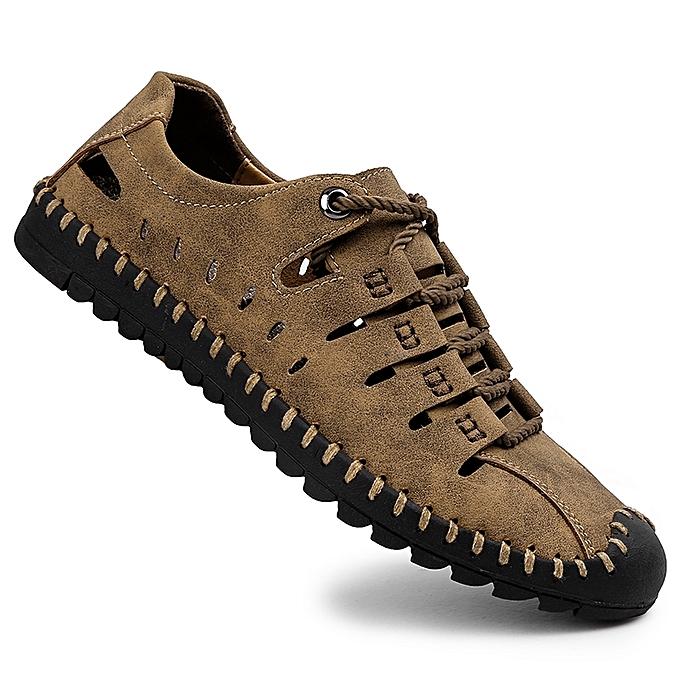 b9e0e733711 EUR Size 38-46 Men Sandals Summer Handmade Full Grain Leather Hiking  Sandals Men s Outdoor