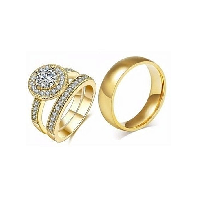 18k Gold Plated Italian Wedding Ring Set 3 Pieces