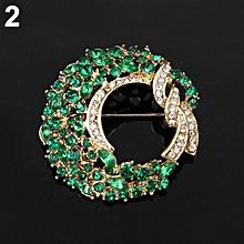Bodhi@Women Fashion Elegant Luxury Moon Flower Alloy Inlaid Rhinestones Brooch Pin-Green
