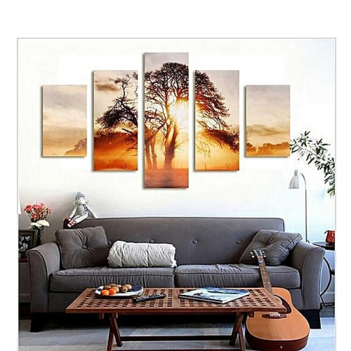 High-end Art Micro-spray Home Living Room Porch Oil Painting Five Tree