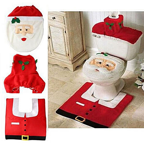 Eleganya Holiday HappySanta Seat Christmas Decorations Cover And Rug Bathroom Set Red