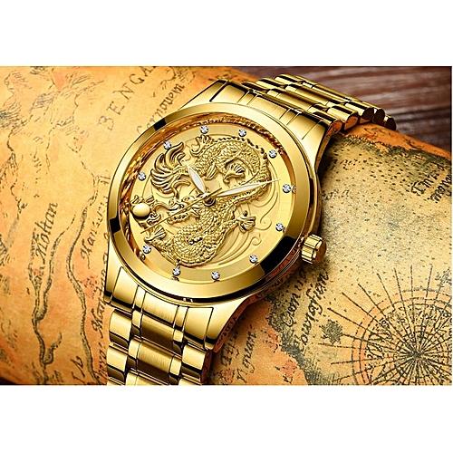 Jumia 80% SHOPPING DISCOUNTDragon-Head Famous Fashion Sports Cool Men Quartz Watches Waterproof Wristwatch- Gold