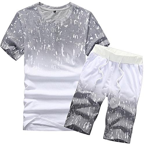 2 Piece Set Men's Round Neck Short Sleeve Shorts Set