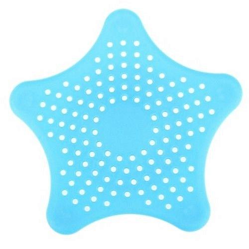 Star Shape Hair Catcher Rubber Bath Sink Strainer Shower Drain Cover Kitchen Helper (BLUE)