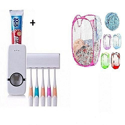 Toothpaste Dispenser & Tooth Brush Holder + 1 Free Foldable Laundry Basket-