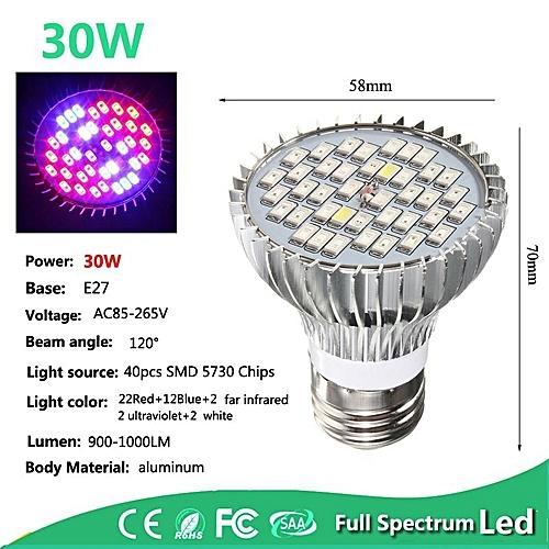 30W E27 Full Spectrum LED Grow Light Bulb Veg Planting Flower Hydroponic Lamp