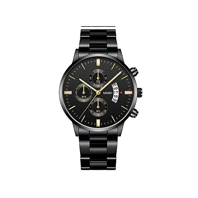 fngeen Luxury Studded Men's Women's Female Ladies Unisex Wrist Watch With Date-Black